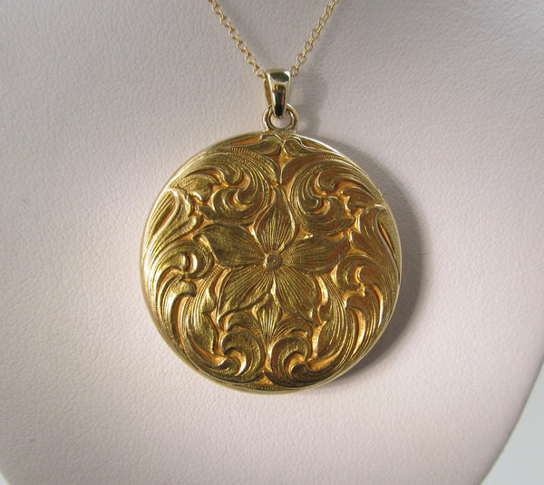 Antique hand engraved flower locket, circa 1900