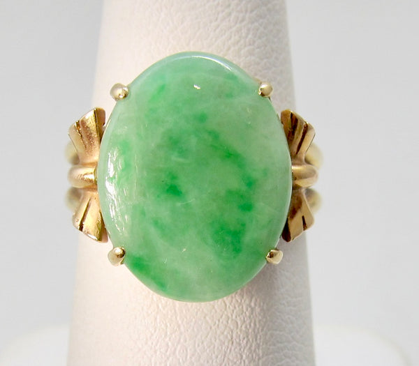 Vintage retro jade ring, 14k rose and yellow gold