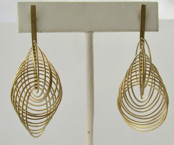 Handmade signed 18k yellow gold circle earrings