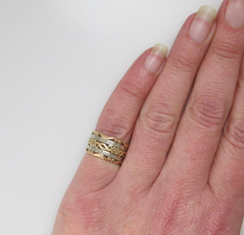 Vintage wide band, 14k rose, white and yellow gold