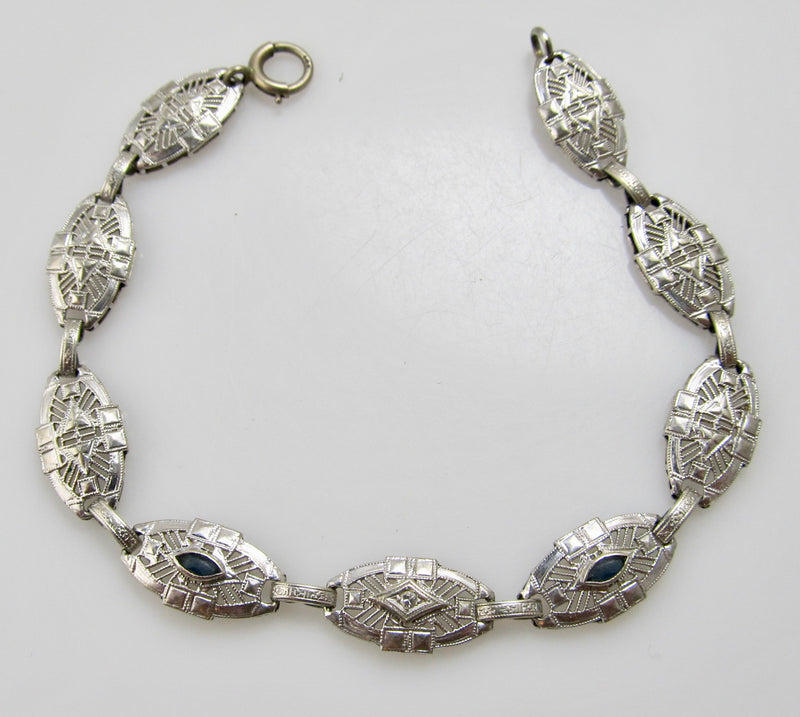 Antique 14k white gold filigree bracelet, circa 1920