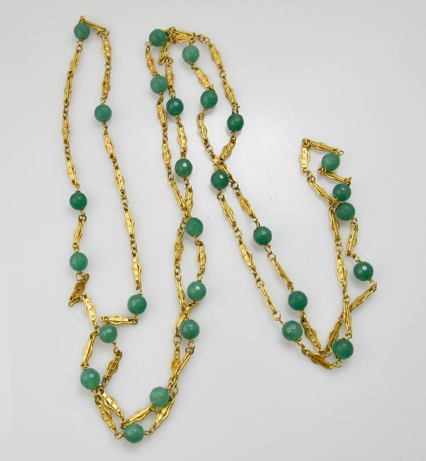 Vintage long 14k yellow gold chain with chalcedony