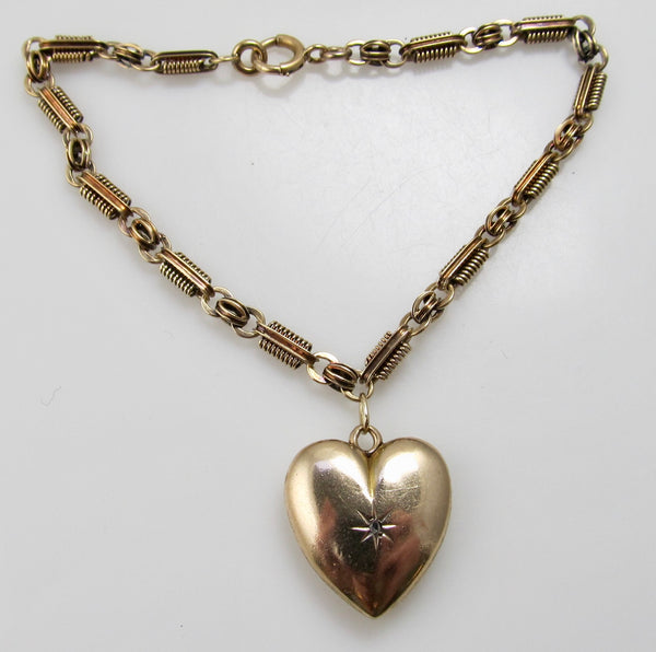 Antique heart locket charm bracelet, 14k