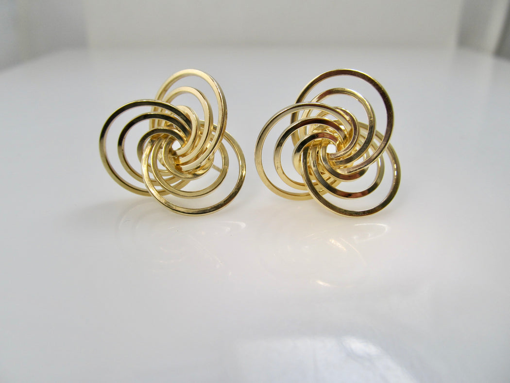 Estate 14k yellow gold spiral earrings