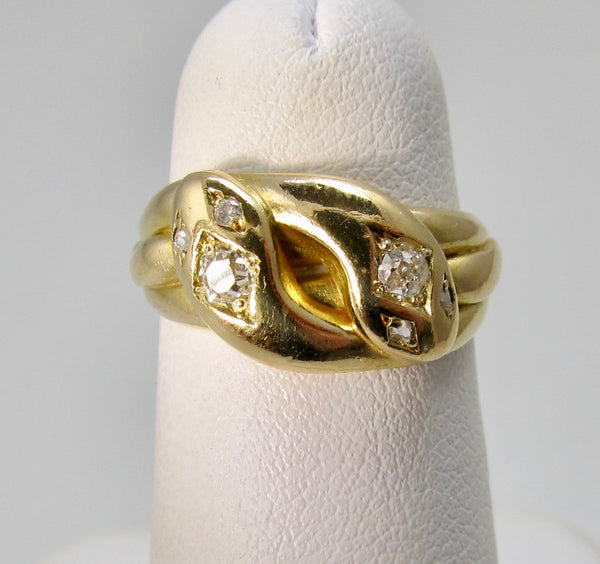Dated 1895 double head diamond snake ring