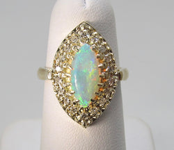 Vintage opal and diaomond marquise ring, 14k yellow gold