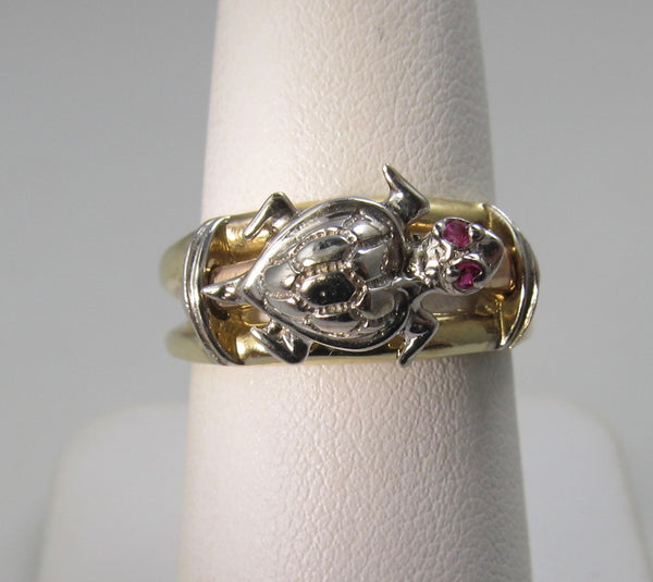 14k turtle ring with ruby eyes, 14k white, rose and yellow gold