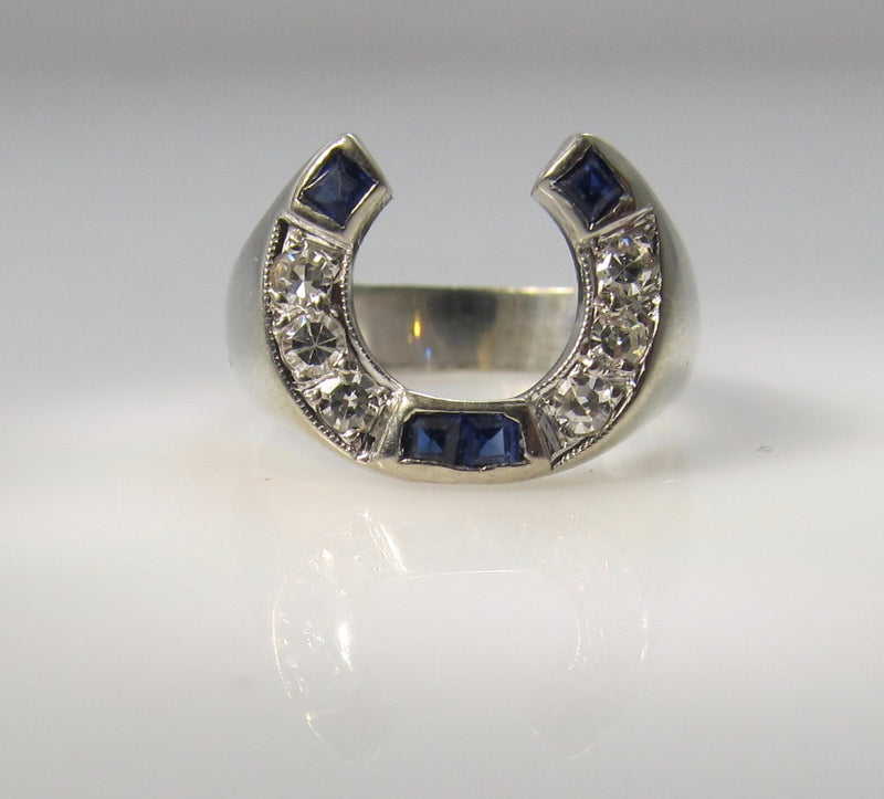 Vintage sapphire and diamond horseshoe ring