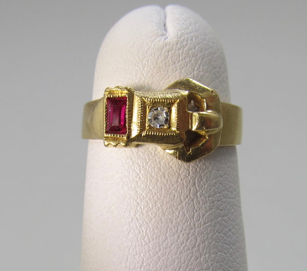 Vintage retro ruby and diamond buckle ring