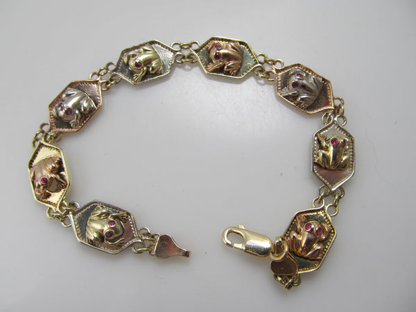 14k white, rose and yellow gold frog bracelet with ruby
