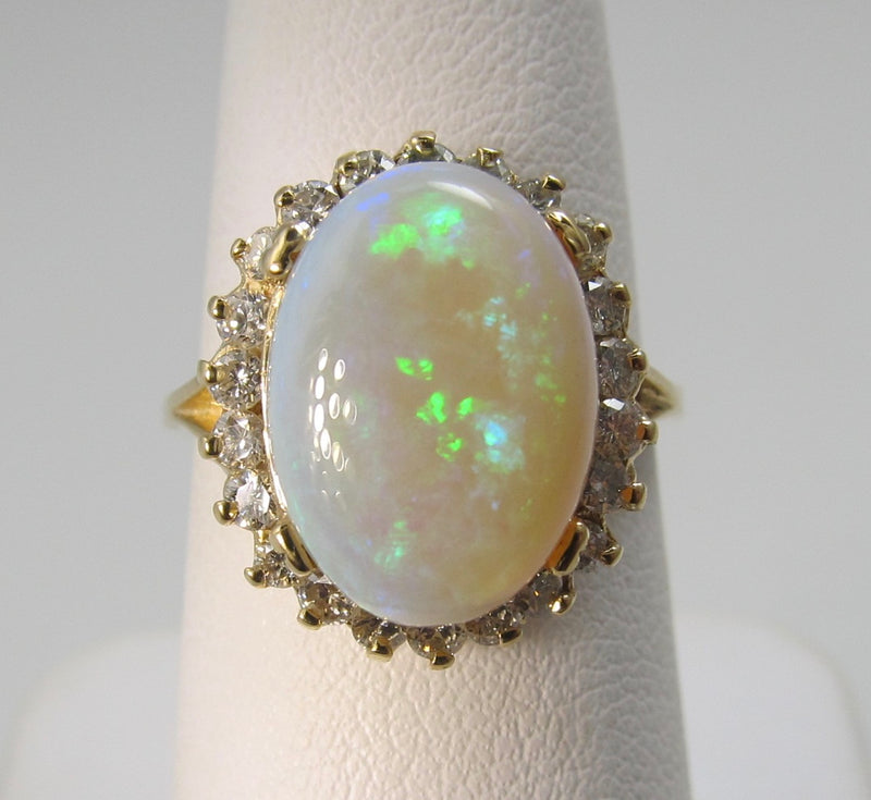 4ct natural opal ring with diamonds
