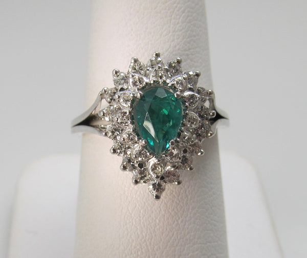 Pear cut natural emerald and diamond cocktail ring