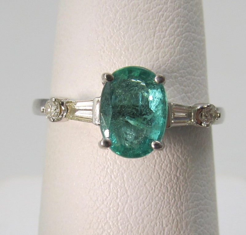 Estate 1.25ct natural emerald and diamond ring