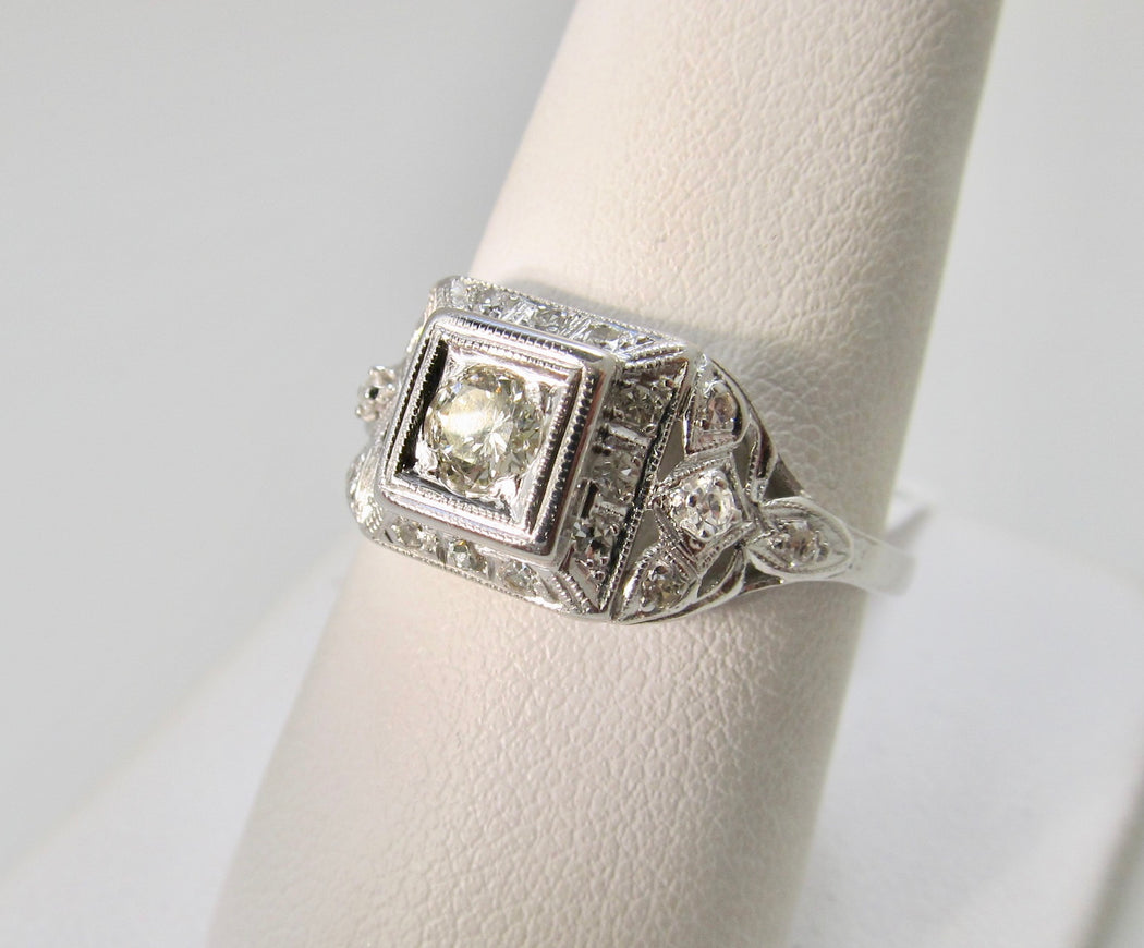 Antique platinum and diamond ring