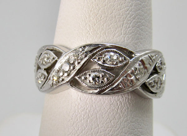 Wide vintage platinum diamond eternity band