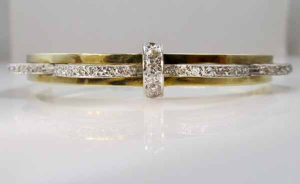Vintage 1ct diamond bangle bracelet