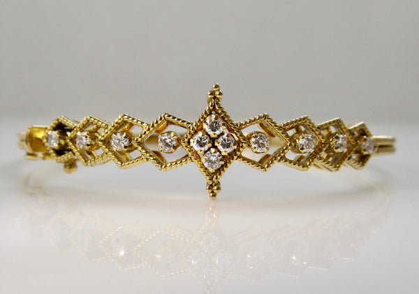 Handmade yellow gold diamond bangle bracelet