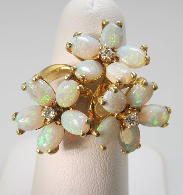 14k opal and diamond flower ring