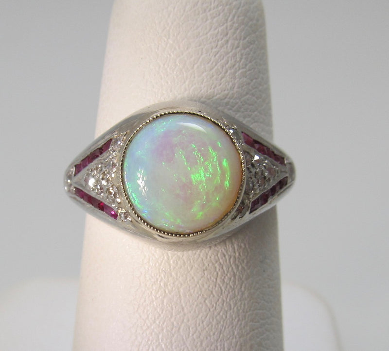 Vintage platinum opal, ruby and diamond ring