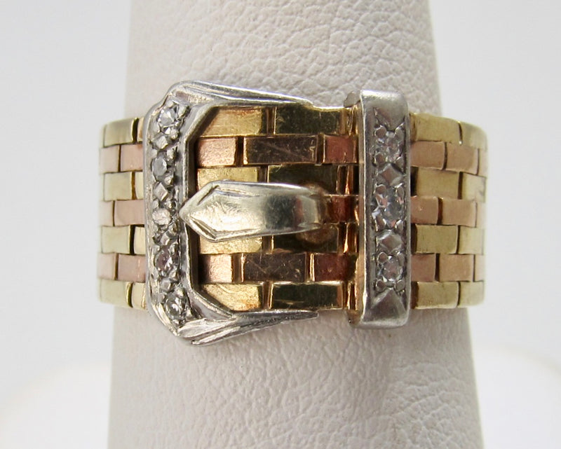 Vintage retro diamond buckle ring