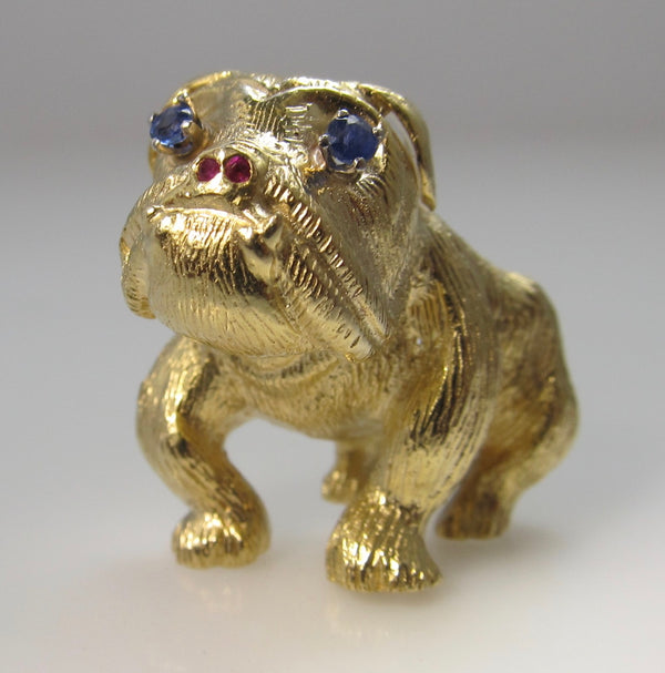 14k yellow gold bulldog pin