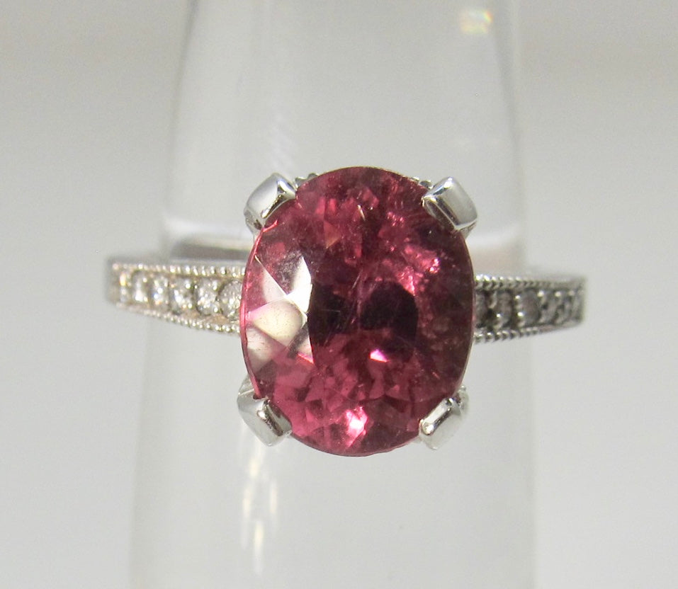 Estate 2.75ct pink tourmaline diamond ring