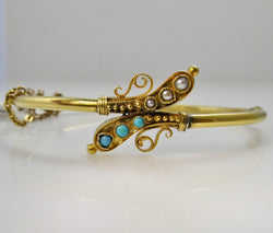 Antique turquoise and pearl bangle bracelet