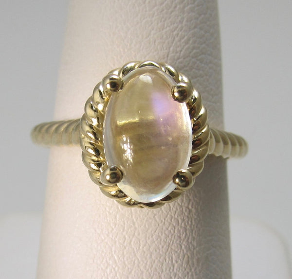 14k yellow gold ring with moonstone