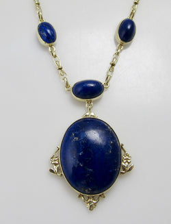 Antique lapis necklace, 14k yellow gold