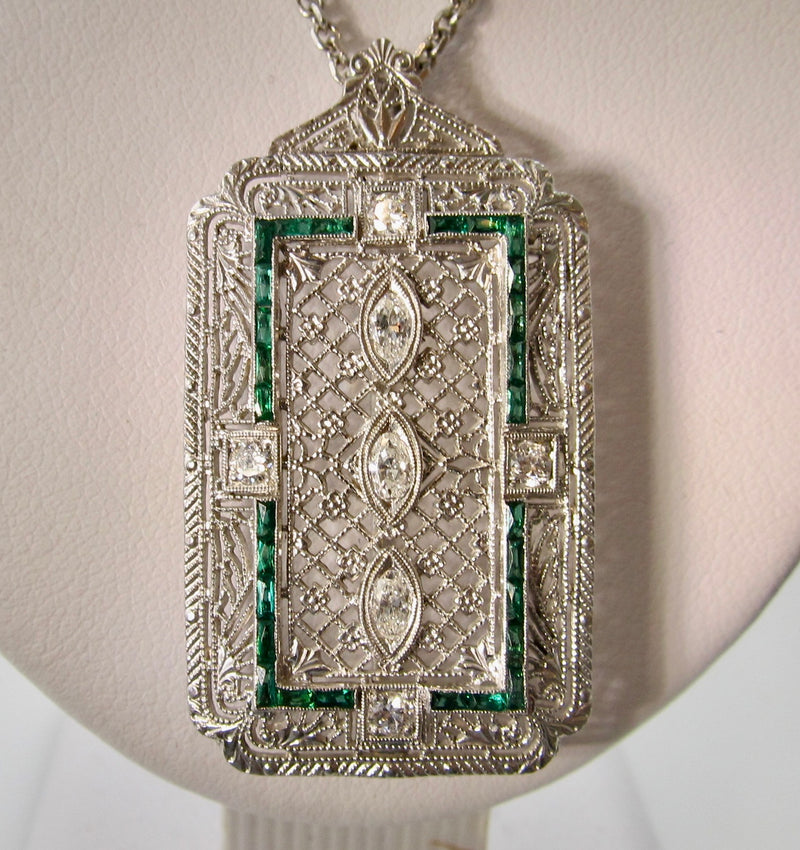 Art Deco emerald and diamond necklace