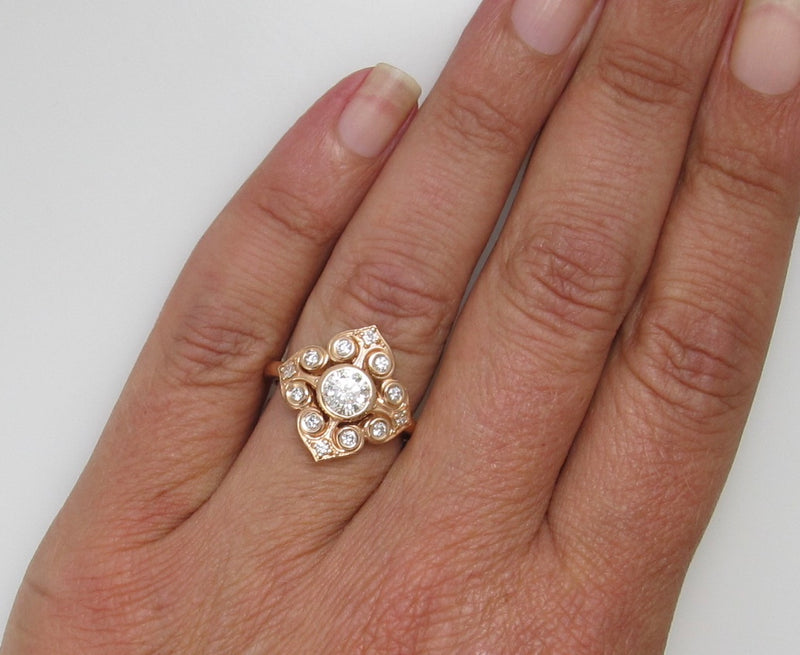 14k rose gold 1ct diamond ring
