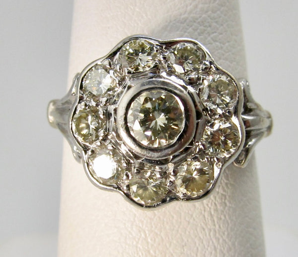 Vintage 1.15ct diamond flower ring