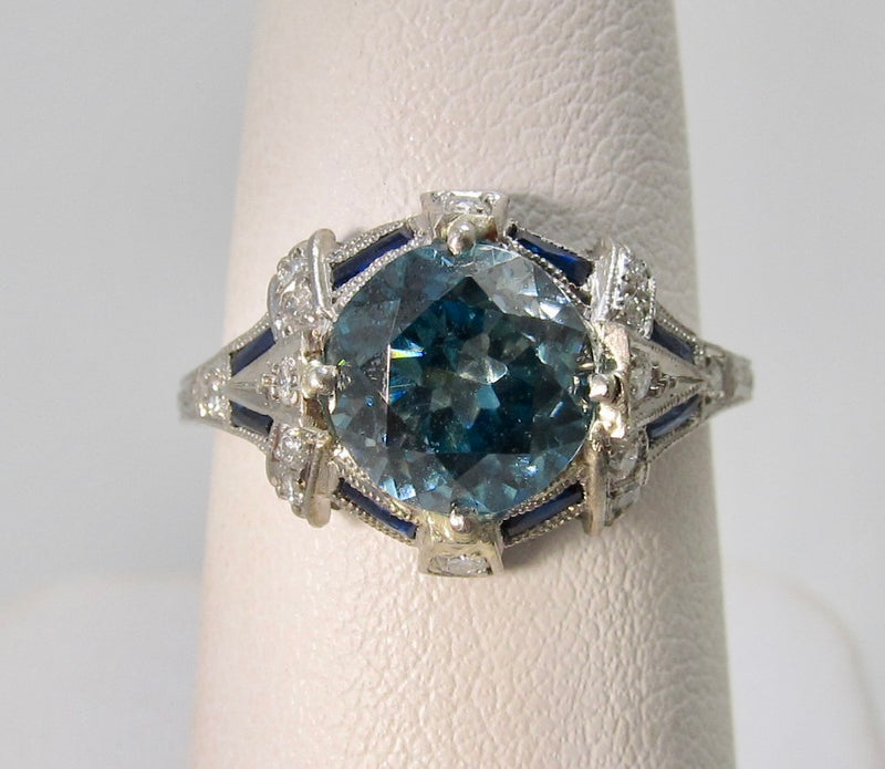 Antique platinum ring with a 2.50ct blue zircon
