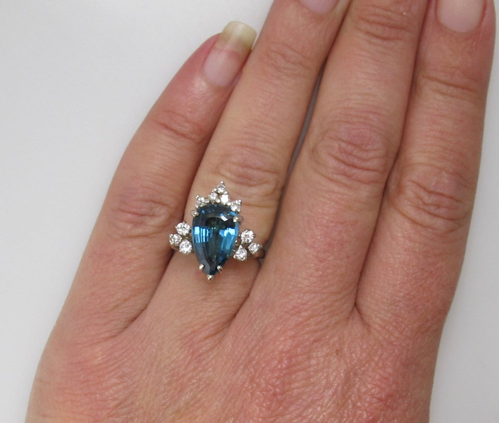 London Blue topaz diamond cocktail ring