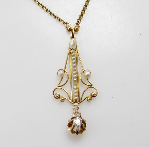 Edwardian pearl and diamond necklace