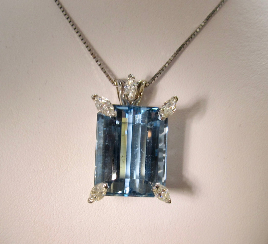 Victorious Cape May, aquamarine diamond necklace