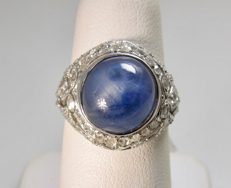 Victorious Cape May, star sapphire diamond platinum ring