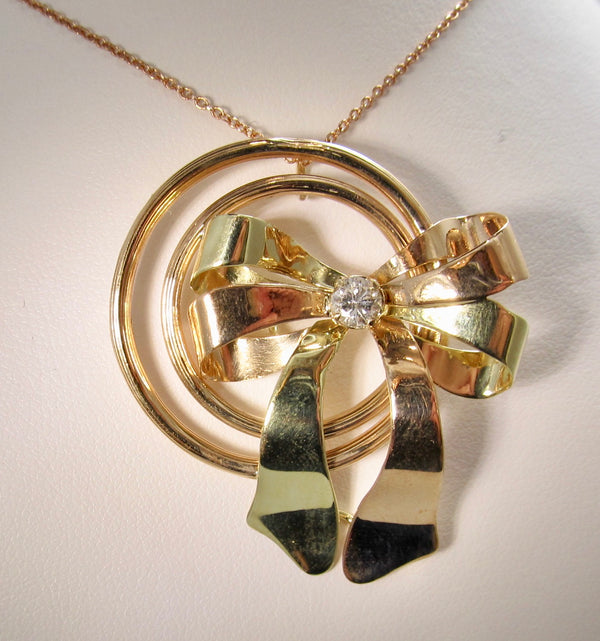 Retro rose gold diamond bow necklace