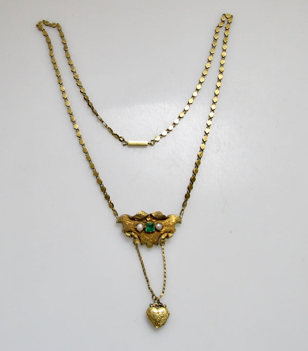 Victorian yellow gold emerald locket necklace