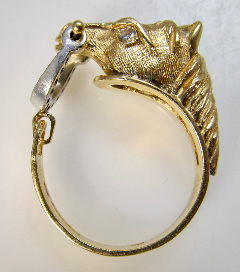 Detailed horse head and bit diamond ring