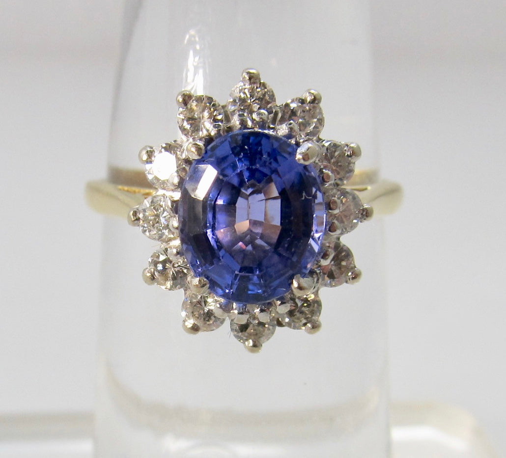 4.00ct tanzanite diamond halo ring