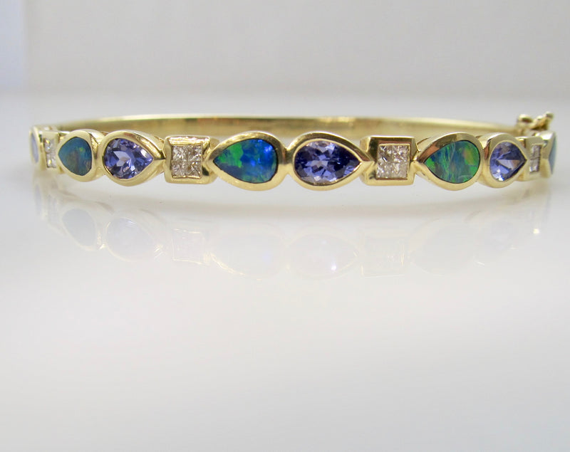 Tanzanite, opal and diamond bangle bracelet