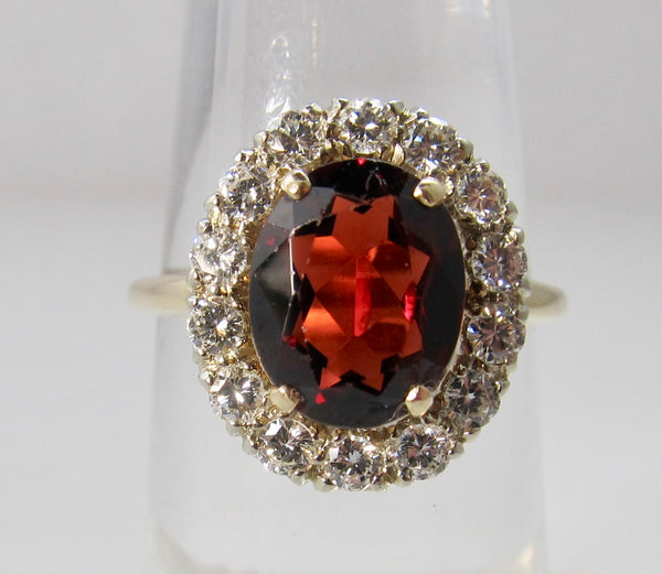 Estate 2ct garnet and diamond halo ring