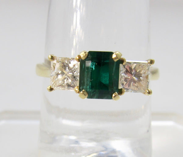1.25ct emerald diamond 3 stone ring