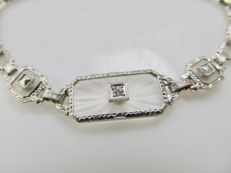 Antique camphor glass diamond bracelet