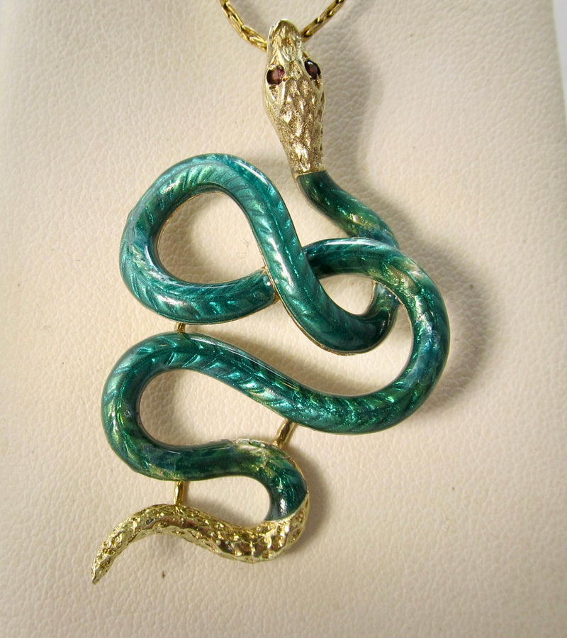 Large vintage ruby snake necklace