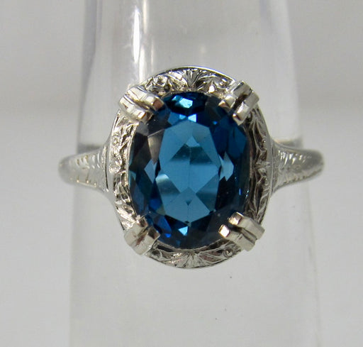 Vintage London blue topaz ring
