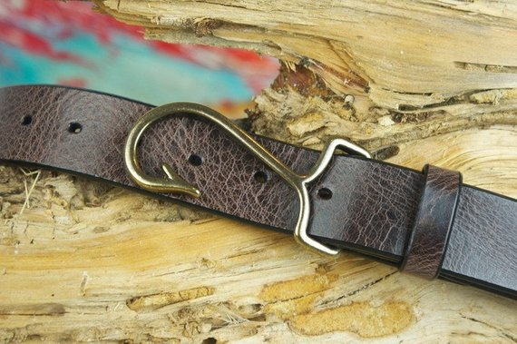 Hand Made Cape Cod Leather fish hook belt