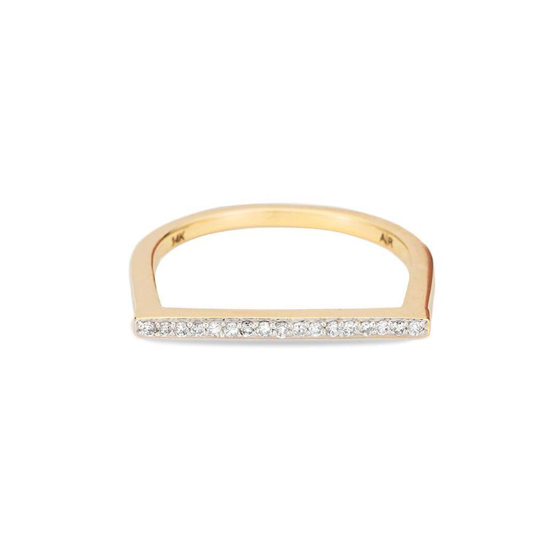 Adina Reyter Yellow Gold Pavé Flat Bar Ring