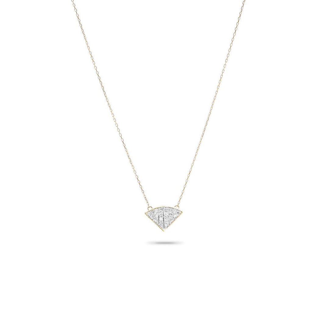 Adina Reyter Tiny Pavé Folded Fan Necklace
